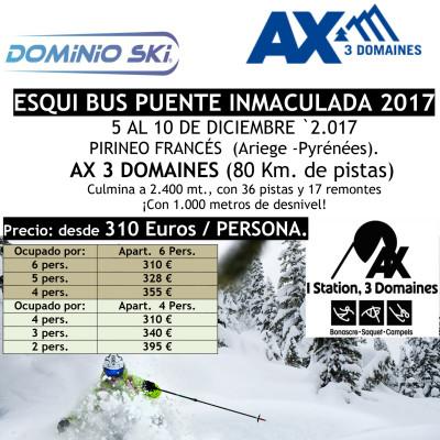 PIRINEO FRANCÉS. AX 3 DOMAINES. ESQUI BUS PUENTE INMACULADA 2017.