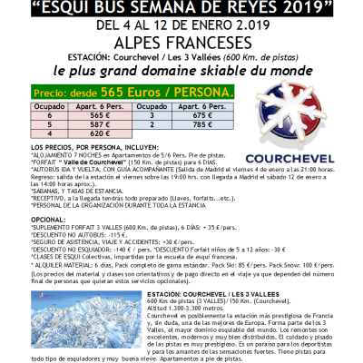 ALPES FRANCESES – ESQUÍ BUS SEMANA DE REYES 2019 DEL 4 AL 2 DE ENERO 2019