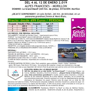 """ALPES FRANCESES – MORILLON """"ESQUÍ BUS REYES 2019"""" DEL 4 AL 12 DE ENERO 2019"""