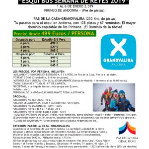 SKIBUS Pas de la Casa DOMINIOSKI Reyes 1-6 enero 2019