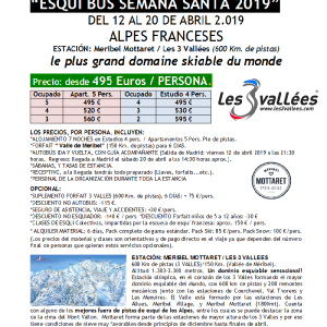 SKIBUS ALPES, Meribel Mottaret-3 Vallees PVP Semana-Santa 2019