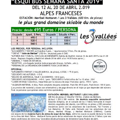 SKIBUS ALPES, Meribel Mottaret-3 Vallees PVP Semana-Santa 2019