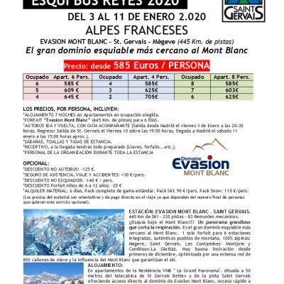 SKIBUS ALPES Evasion Mont Blanc-St Gervais REYES 3-11 enero 2020