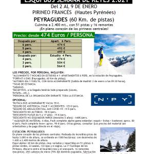 """PIRINEO FRANCÉS  (Hautes Pyrénées) """"ESQUÍ BUS SEMANA DE REYES 2.021"""""""