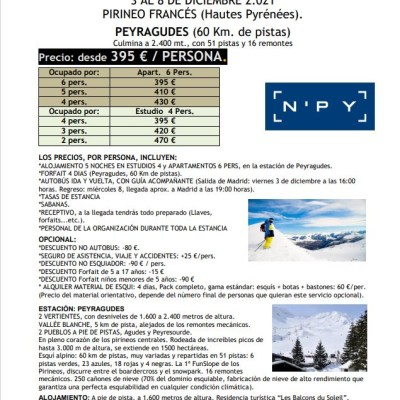 ESQUI BUS PUENTE INMACULADA 2021 3 AL 8 DE DICIEMBRE 2021 PIRINEO FRANCÉS (Hautes Pyrénées)